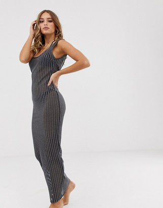 Asos Design DESIGN jersey beach maxi dress in metallic stripe-Silver