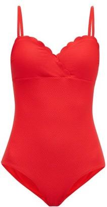 Heidi Klein Pampellonne Scalloped Basketweave Swimsuit - Womens - Red