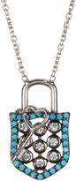 Argentovivo Sterling Silver CZ Shield & Key Pendant Necklace