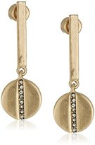 """Kenneth Cole New York Highlines"""" Pave Disc Bar Drop Earrings"""