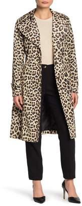 Via Spiga Packable Belted Leopard Rain Jacket (Petite)