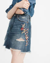 Abercrombie & Fitch Embroidered Denim Mini Skirt