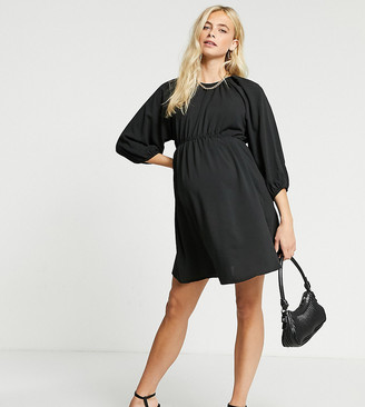 Missguided Maternity dress with puffed sleeves in black