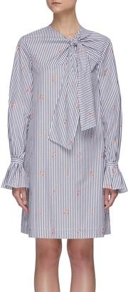 Victoria Victoria Beckham Striped music notes pattern tied-neck dress