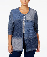 Alfred Dunner Plus Size Sierra Madre Collection Fringe Patchwork Cardigan