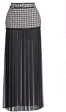Balmain Women's Chiffon-Trimmed Tweed Maxi Shirt