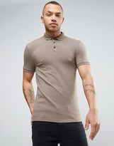 Asos Extreme Muscle Polo Shirt In Brown