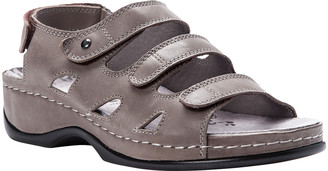 Propet Women's Sandals Grey - Gray Tri-Strap Kara Leather Slingback Sandal - Women