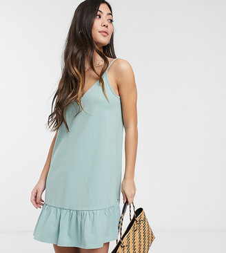 Asos DESIGN Petite Exclusive v front mini dress with pep hem in sage