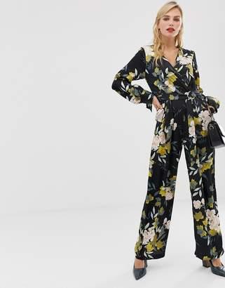 Liquorish floral jumpsuit with wrap front-Multi