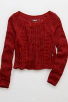 aerie Cropped Lace-Up Sweater