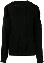 Unravel Project ripped detail long drawstring hoodie