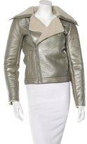 Alice + Olivia Fur-Trimmed Leather Jacket
