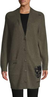 360 Cashmere Wool & Cashmere Skull Cardigan Sweater