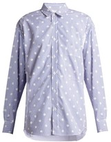 La Fetiche - Nico Polka-dot Printed Striped Cotton Shirt - Womens - Blue White