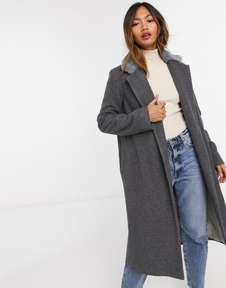 Helene Berman long length faux fur trim wool blend coat in grey