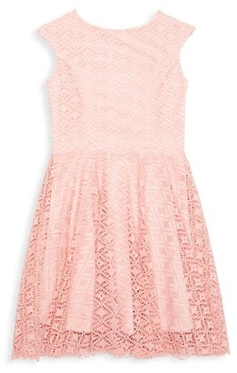 Un Deux Trois Girl's Lace Cap-Sleeve Dress