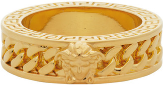 Versace Gold Medusa Head Chain Ring