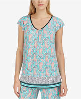 Ellen Tracy Printed Flutter-Sleeve Pajama Top