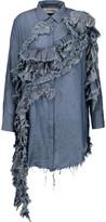 Marques Almeida Marques' Almeida Ruffled cotton-chambray shirt