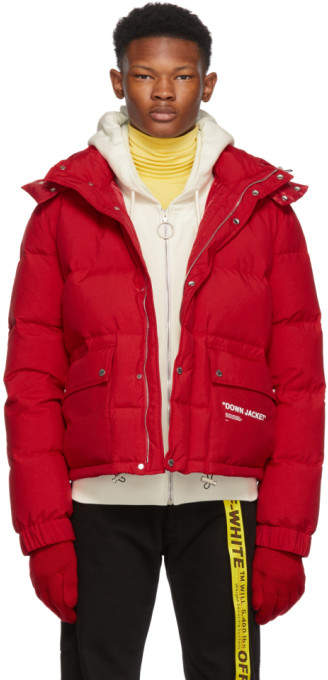 Off-White Red Quote Down Jacket
