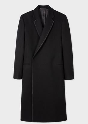 Men's Black Felted Wool Overcoat