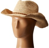 Hat Attack Raffia Crochet Cowboy with Bead Trim