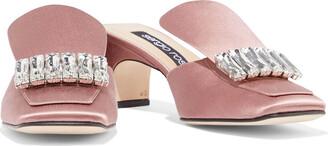Sergio Rossi Crystal-embellished Satin Mules
