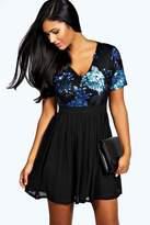 boohoo Catherine Sequin Top Skater Dress black