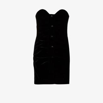 Saint Laurent Gathered Bustier Mini Dress
