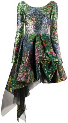 Natasha Zinko Floral Asymmetric Flared Dress