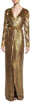 Diane von Furstenberg Ariel Armour Embellished Wrap Dress