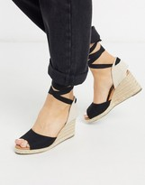 New Look tie up canvas espadrille wedges in black