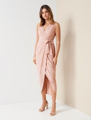 Forever New Liza Wrap Midi Dress - Nude - 10