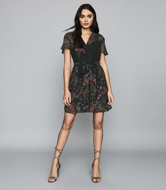 Reiss SADIE FLORAL PRINTED MINI DRESS Black Print