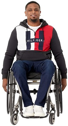 Tommy Hilfiger Adaptive Hoodie Sweatshirt With Extended Zipper Pull (Jet Black) Men's Clothing