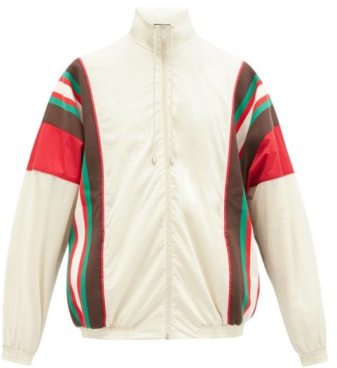 Gucci GG-patch Crinkle-shell Track Jacket - White Multi