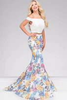 Jovani 42800A Off-Shoulder Striped Floral Long Gown in White/Multi