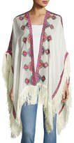 Figue Embroidered Wool Shawl, Ivory