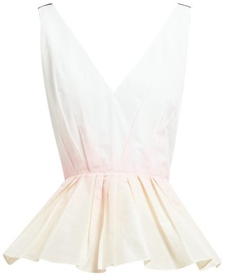 Roksanda Cela Peplum-hem Taffeta Top - Womens - White Multi
