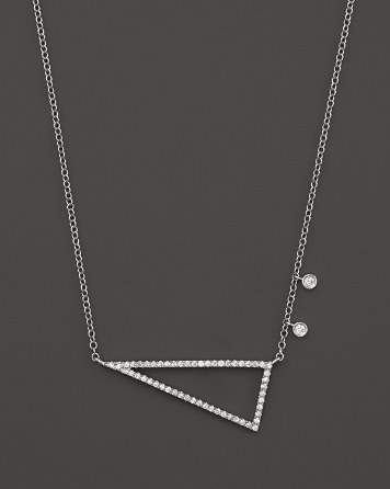 """Meira T 14K White Gold Side Triangle Necklace with Diamonds, 16"""""""