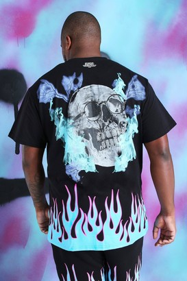 boohoo Mens Black Big and Tall Loose Fit Quavo Skull T-Shirt, Black