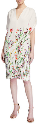Lela Rose Wildflower-Print Crepe Tunic Dress