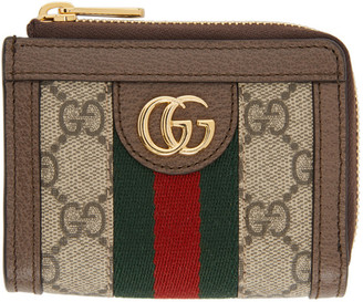 Gucci Brown and Beige GG Ophidia Card Holder Wallet