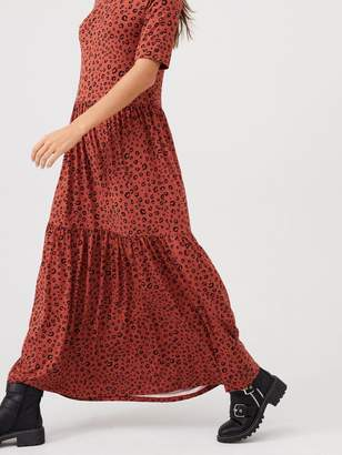 Very Smock Tiered Animal Maxi Dress - Rust