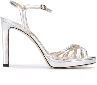 Jimmy Choo Lilah 100mm metallic leather sandals