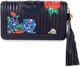 Tory Burch Fleming Quilted Floral-print Leather Shoulder Bag