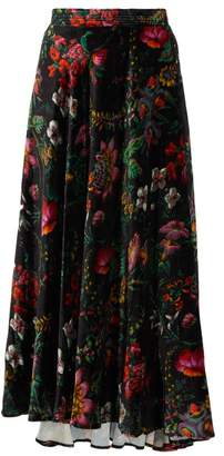 Paco Rabanne Crystal-embellished Floral-print Velvet Skirt - Womens - Black Multi