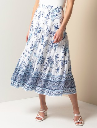 Forever New Lilliana Petite Tiered Maxi Skirt - Blue Crush Floral - 6