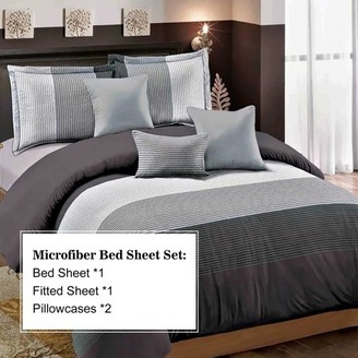 Hgmart HGMart Bed Sheet Set Collection - 4 Piece Brushed Microfiber Bedding Sheet Set - Fade and Stain Resistant Hypoallergenic Deep Pocket Bedspread Set - Striped Gray, King Size